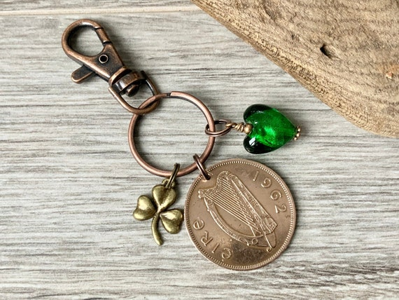 1962 irish coin and shamrock keychain, keyring or clip, lucky Ireland penny charm, 58th birthday or anniversary gift