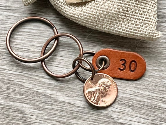 1991 USA coin keychain, American one cent keyring, lucky penny clip, 30th birthday gift or anniversary present for a man or woman