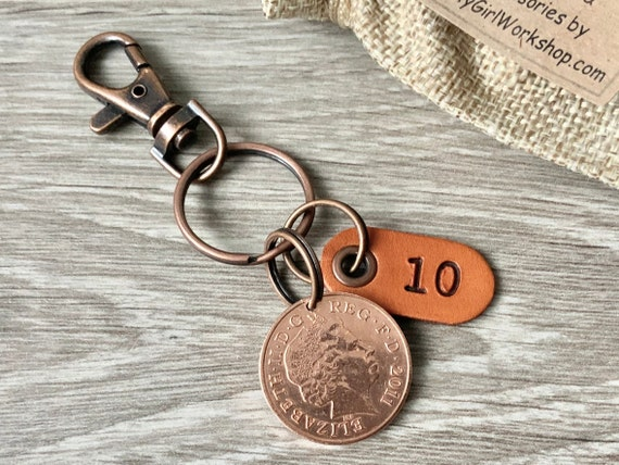 10th anniversary gift, 2011 two pence coin keyring or clip with a 10 leather tag a perfect gift for a man or woman, husband, wife or partner