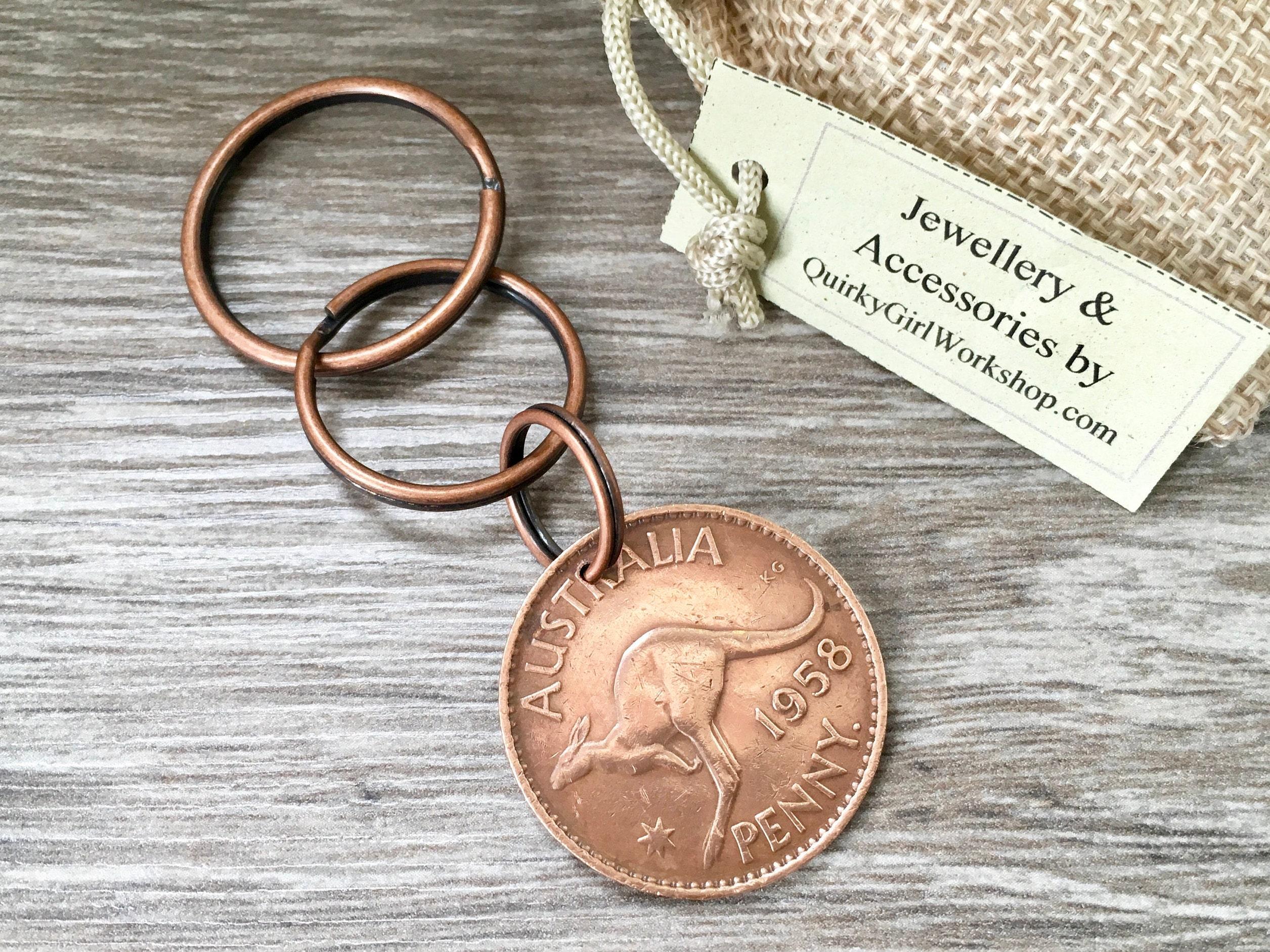 1958 Australian Kangaroo Coin Key Chain 60th Birthday Gift Australia Keyring Aussie Big Penny Clip Present Man Woman Men