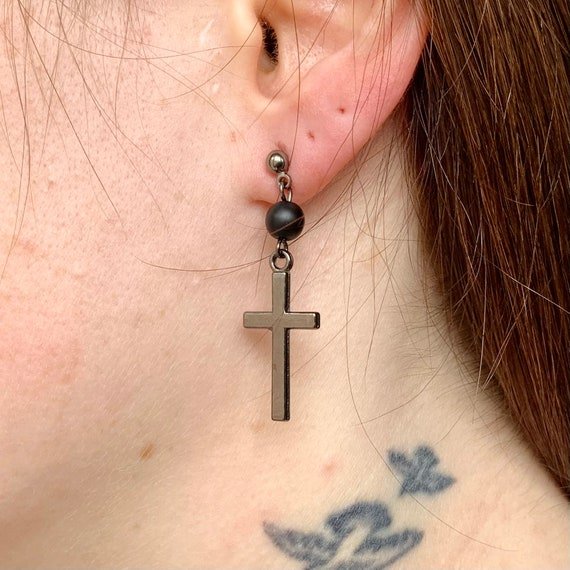 Gunmetal grey cross and onyx bead earring, available as a single earring or a pair of earrings