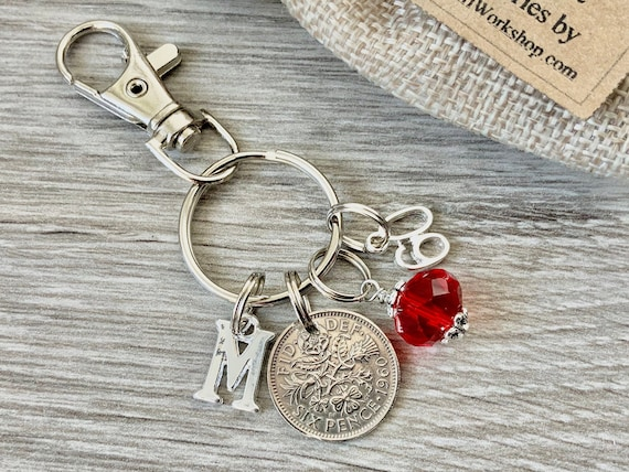 60th birthstone charm, 1960 sixpence keyring or bag clip, choose initial and birthstone colour, birthday or anniversary gift