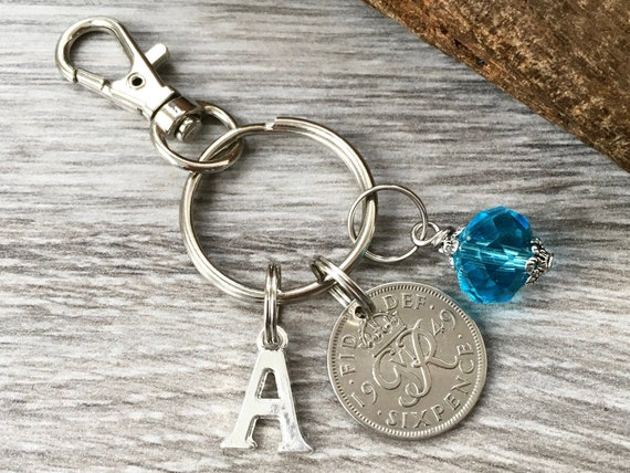 70th birthday birthstone gift, 1949 sixpence charm, keyring or bag clip, choose initial and birthstone colour