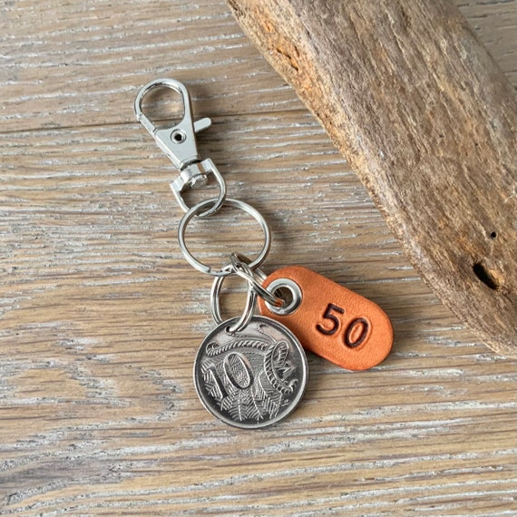 50th birthday or anniversary  gift, 1971 Australian 10 cent coin keyring, keychain or clip, with a handmade number 50 leather tag