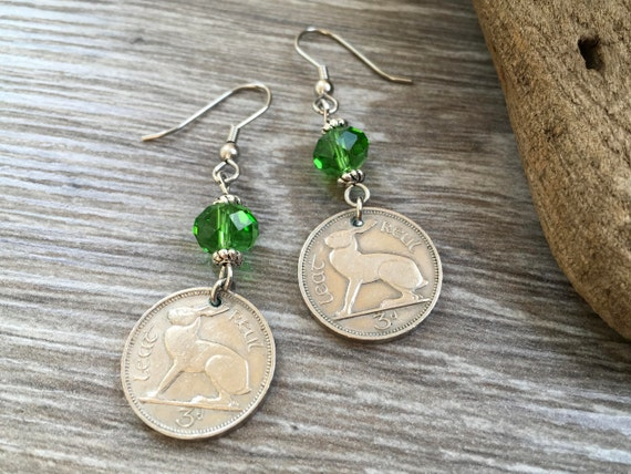 57th or 58th birthday gift, Irish hare long dangle earrings, 1961 or 1962 Ireland rabbit coin jewellery, anniversary present her, woman