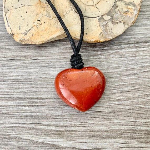 Red jasper heart pendant necklace on black leather or cotton cord simple boho gemstone jewellery, valentines gift wife, girlfriend