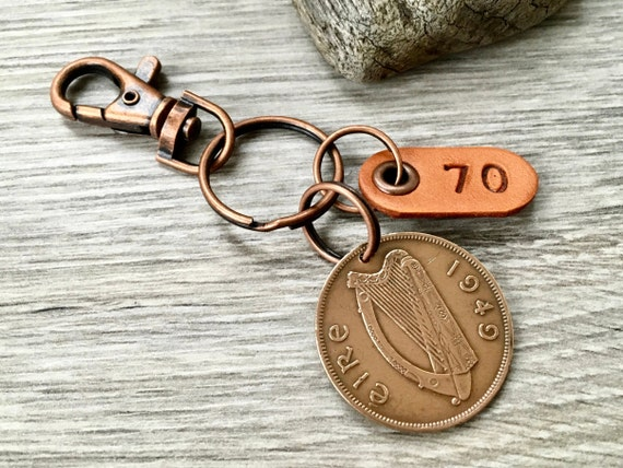 70th birthday gift, 1949 Irish penny keychain, keyring or clip, Ireland gift for a man or woman