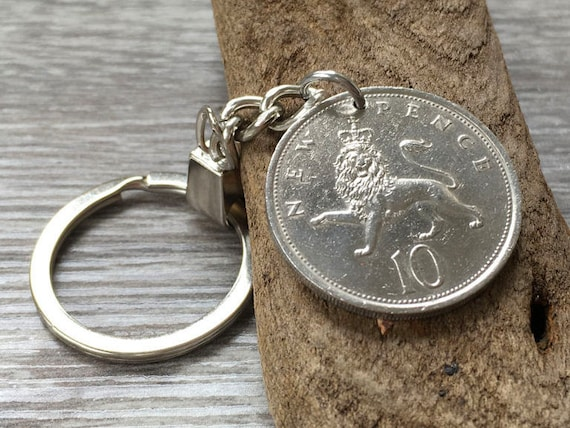 1974 or 1975 British coin keyring, Keychain or clip, choose coin year, 44th or 45th birthday or anniversary present for a man or woman