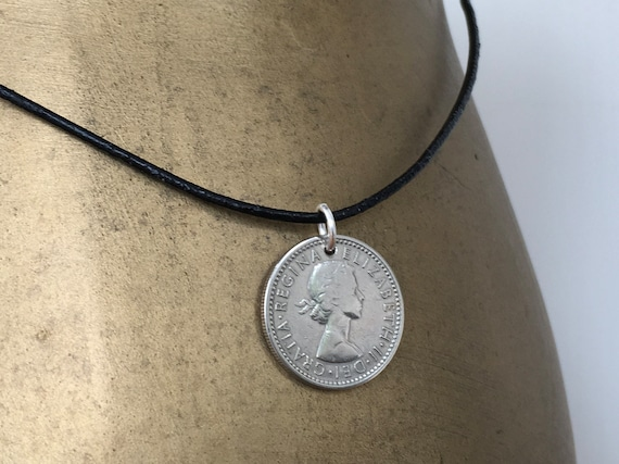 sixpence necklace, leather cord lucky coin pendant, English, British anniversary, retirement present man, men, 1959, 60th birthday gift