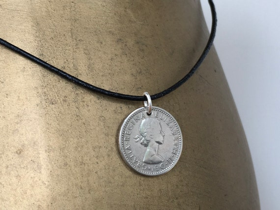 sixpence necklace with a leather cord, lucky coin pendant, choose coin year for a anniversary or birthday gift