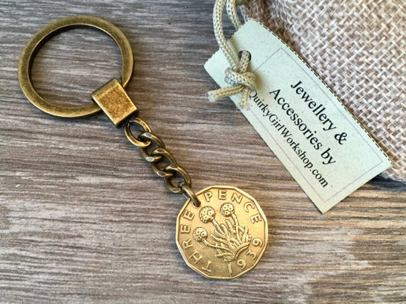 1939 or 1940 Threppence keyring, 80th or 81st birthday gift, British coin clip, lucky bag charm, UK English present for a man or woman