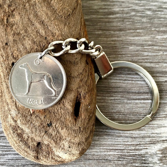 Lucky Ireland sixpence keychain, keyring or clip, 1955 or 1956 Irish wolfhound coinchoose coin year for a 63rd or 64th birthday, anniversary