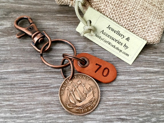 70th birthday gift 1949 British coin keychain, English halfpenny sailing ship keyring, small present