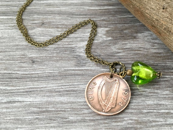 1974 Irish coin necklace, green glass heart, 46th birthday gift anniversary present for her, woman, Celtic penny, Ireland