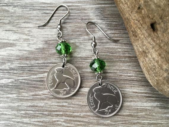 56th birthday gift, 1963 Irish coin earrings, Rabbit hare jewelry, harp Ireland, kelly green, anniversary, retirement gift for her, woman