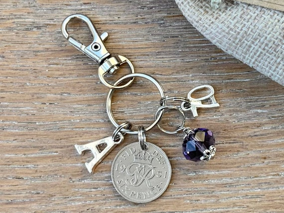 70th birthday birthstone gift, 1951 sixpence charm, keyring or bag clip, choose initial and birthstone colour