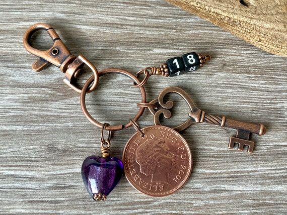 18th birthday gift, 2001 British coin keychain, handbag charm, English anniversary, coming of age, key to the door, present for her, woman,