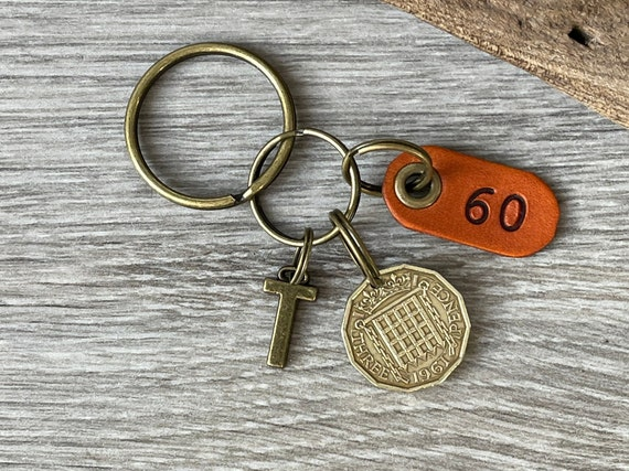 60th birthday gift with a choice of initial charm, 1961 British brass threepence coin keychain, keyring or clip