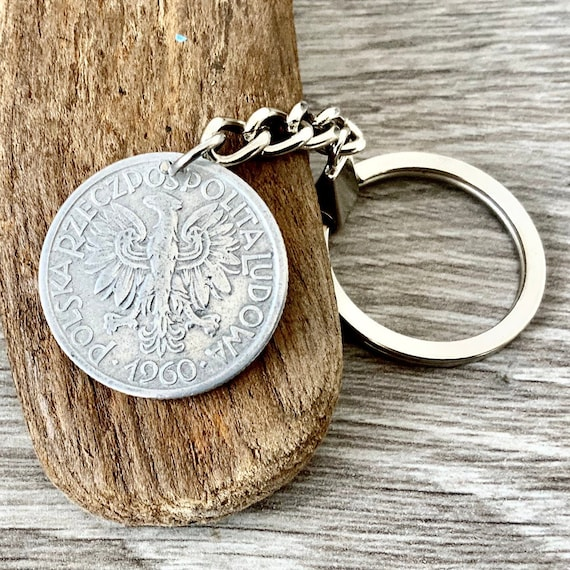 1960 polish coin keyring, 2 zlotych keychain, poland 60th birthday gift or Anniversary present for a man or woman