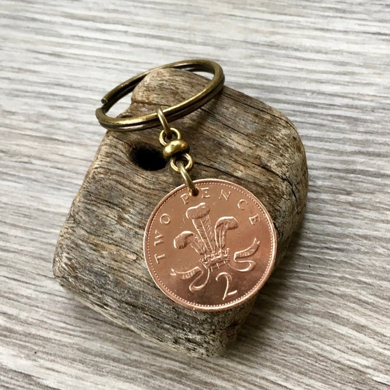 British coin keyring, keychain or clip, 1978, 1979, 1980 or 1981 for a 39th, 40th or 41st birthday or anniversary gift for a man or woman