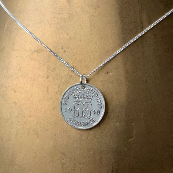 1939 or 1940 lucky sixpence necklace, pendant, 80th or 81st birthday gift, British coin jewelry, silver retirement present for her woman