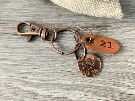 21st Birthday or Anniversary gift, 1999 USA penny keychain, keyring or clip, United States one cent