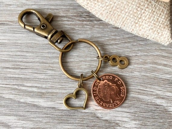 8th anniversary gift, 2012 UK penny keyring, keychain or clip, bronze eighth anniversary present for a man or woman