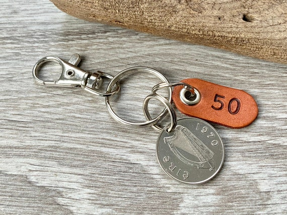 50th birthday gift, 1970 Irish Taurus coin keychain, keyring or clip, 50 years bag charm, anniversary present for a man or woman