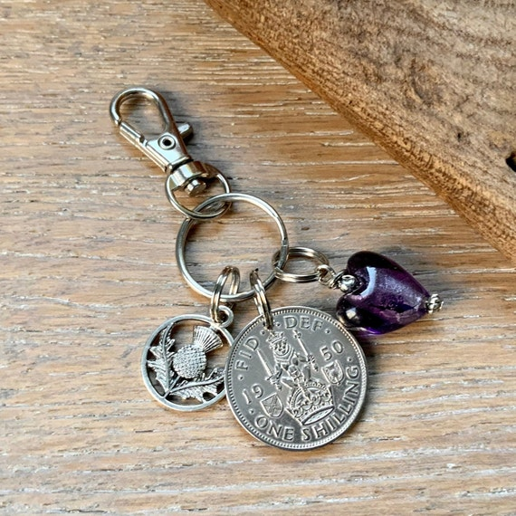 Scottish shilling keychain, bag clip charm, Scottish thistle keyring 1947, 1948, 1949, 1950 or 1951 choose coin year Birthday or Anniversary
