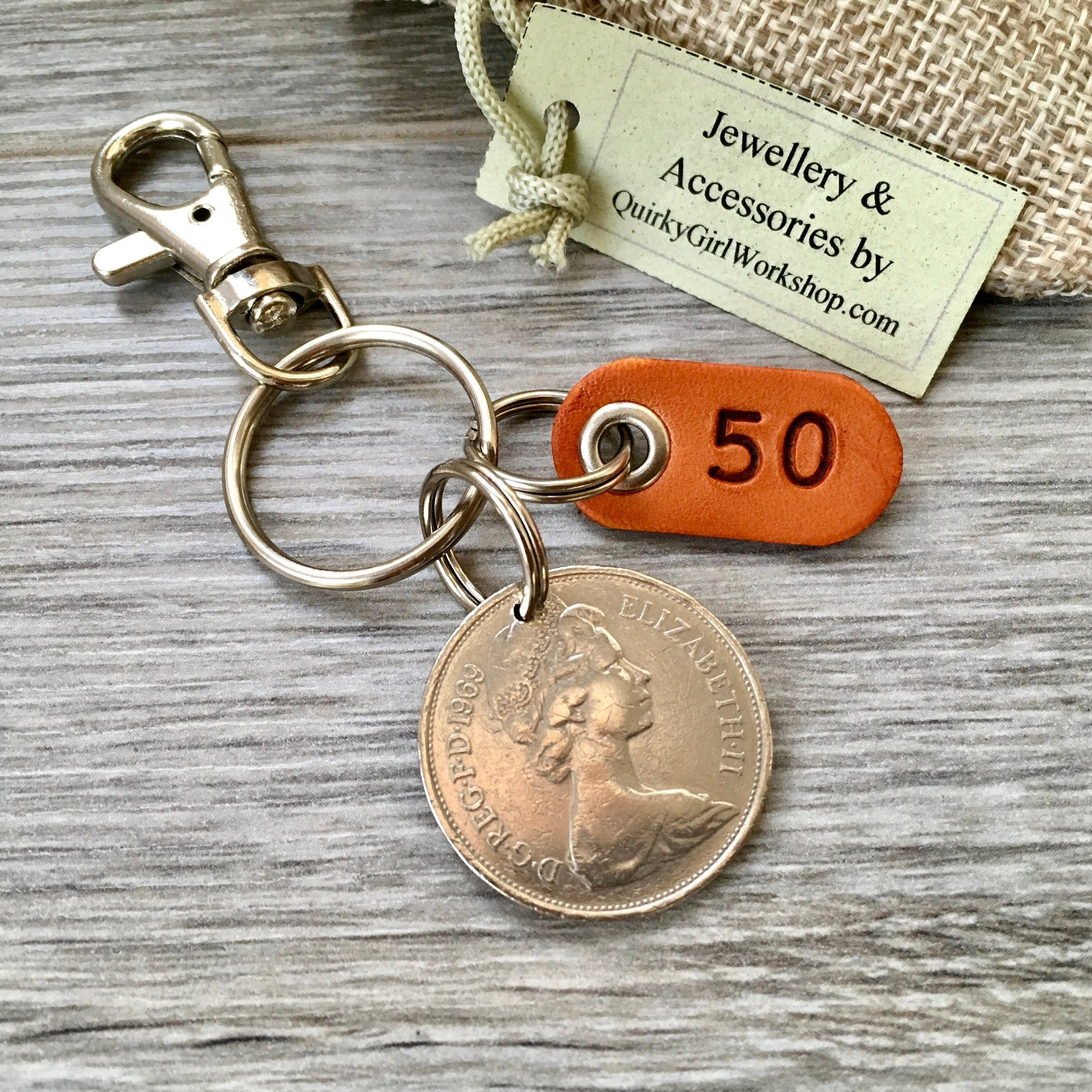 50th Birthday Gift, 1969 British Ten Pence Coin Keyring Or