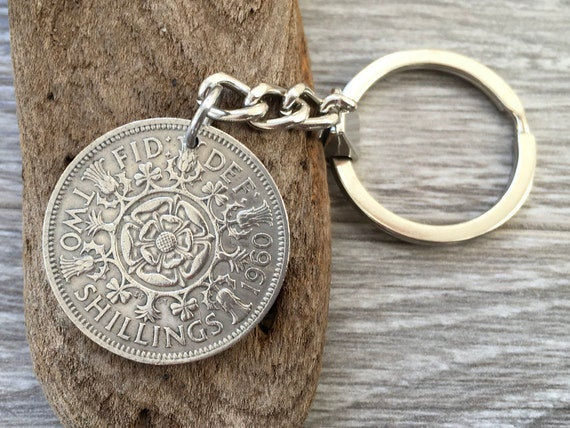 1960, 1961 or 1962 British florin coin keychain, or clip, Two shilling keyring English 58th, 59th or 60th birthday or anniversary gift