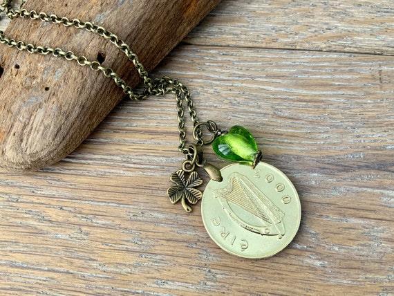 19th anniversary gift, 2000 coin necklace, green glass heart, shamrock, Ireland gift for her, lucky talisman, millennium, woman pendant