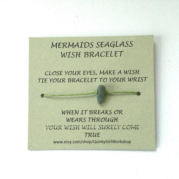 Sea glass wish bracelet, beach glass, gift for girl teen, mermaids tears, tie friendship bracelet, charm jewelry, wrap, anklet, ankle
