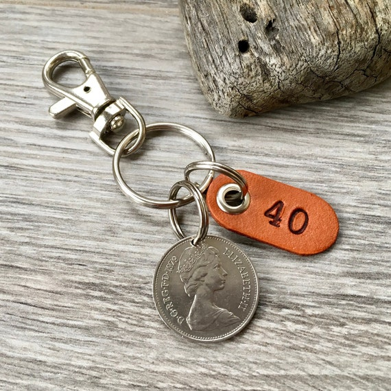 1979 British coin keychain, English 40th birthday gift or 40th anniversary present for a man or woman