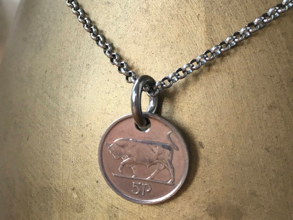 Mens Irish coin necklace 25th 26th or 27th birthday gift Taurus bull pendant 1992, 1993 or 1994 choose year, Ireland Anniversary present