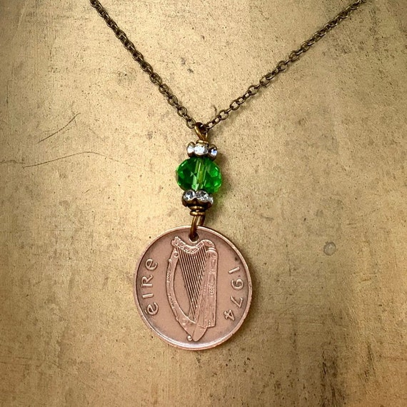 1974 Irish penny pendant, green Ireland necklace, Eire harp coin, celtic jewellery, 46th birthday or anniversary gift