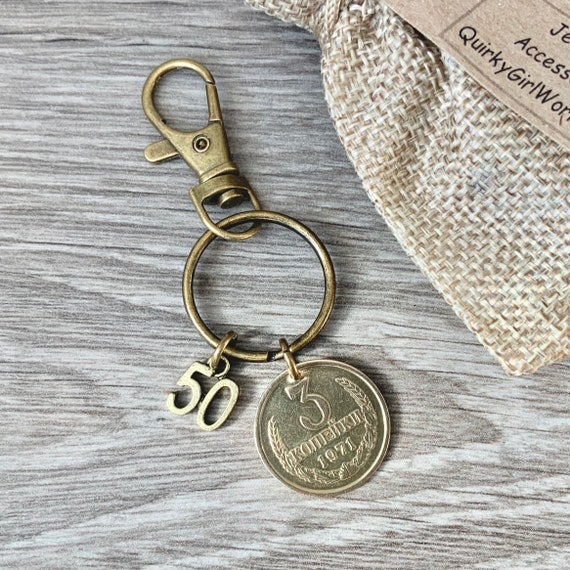 50th birthday gift, Unusual Soviet Union coin keyring, 1971 3 kopek coin keychain Russia, Russian key fob