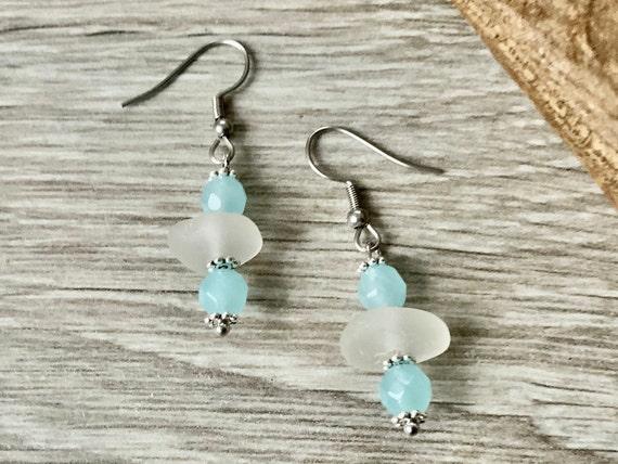 Beach glass earrings, sea glass and aquamarine jewellery, sky blue earrings, gemstone  and mermaids tears, unusual cool gift for a woman