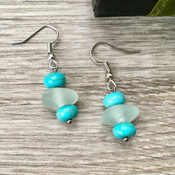 Sea glass earrings, Cornish beach glass jewelry, white, turquoise, stainless steel, mermaids tears, unusual cool gift for her, woman, wife