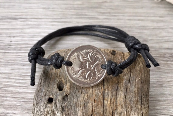 Australian 5 cent coin friendship bracelet, knotted leather or cotton cord, choose coin year for a perfect birthday or anniversary gift