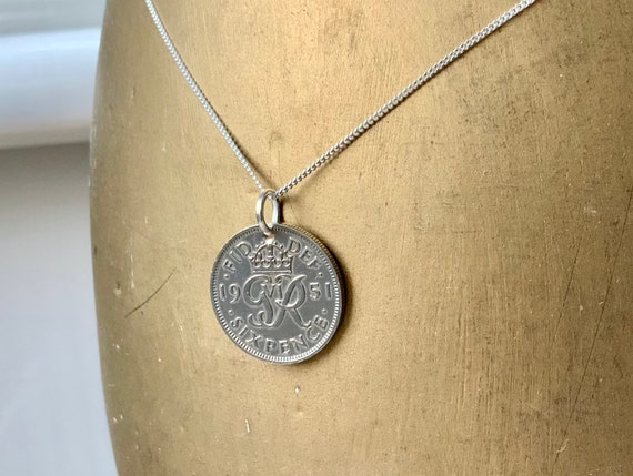 British lucky sixpence necklace on a sterling silver chain, choose coin year