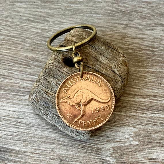 1943 Australian penny keychain or clip, 77th  birthday gift, Aussie retirement, kangaroo keyring, Australia present for a man or woman