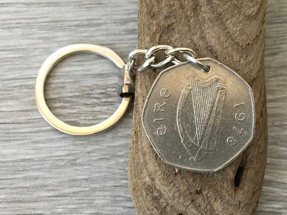 1978 Irish 50p coin keychain, Keyring or clip. 41st birthday or anniversary gift