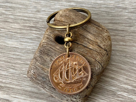1960 or 1962 ship coin keychain, English UK England, halfpenny keyring, sailing ship retirement, 58th or 60th birthday, Father's Day gift