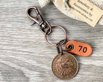 70th birthday gift, 1951 New Zealand penny keychain, Keyring or clip, NZ coin with a leather number 70 tag