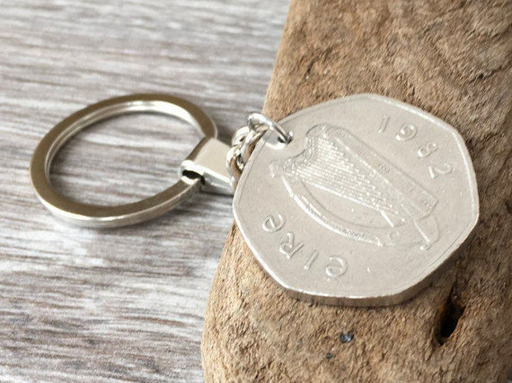 1982 Irish coin key chain, or clip, 50p keyring, 38th birthday or St patrick gift for a man or woman, Ireland, harp, 7 sided coin