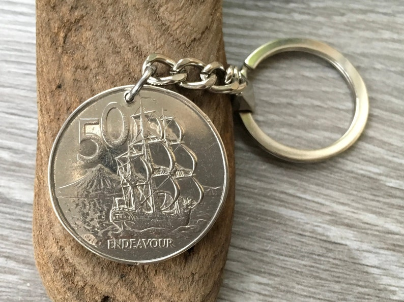 50th Birthday Gift 1969 New Zealand Coin Keyring Endeavour