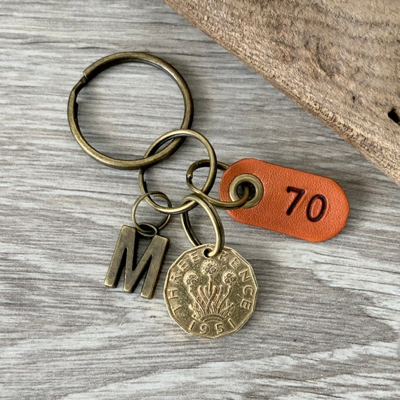 1951 British threepence keychain, keyring or clip, a great gift for a 70th birthday in 2021