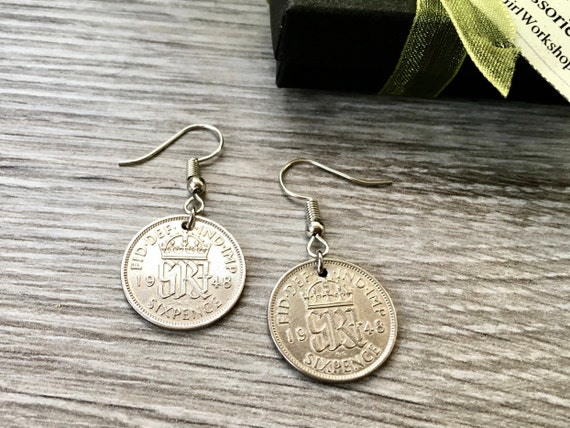 1947 or 1948 British sixpence earrings, pretty English coin Jewellery, birthday gift or retirement present woman