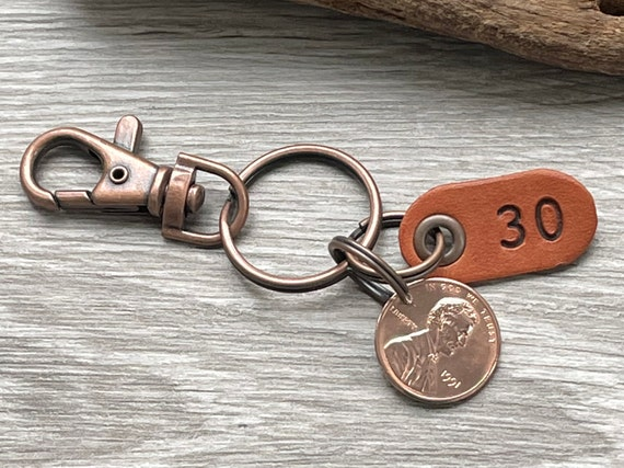 30th birthday gift, 1991 USA coin keychain, American one cent keyring, lucky penny clip, anniversary, present for a man or woman